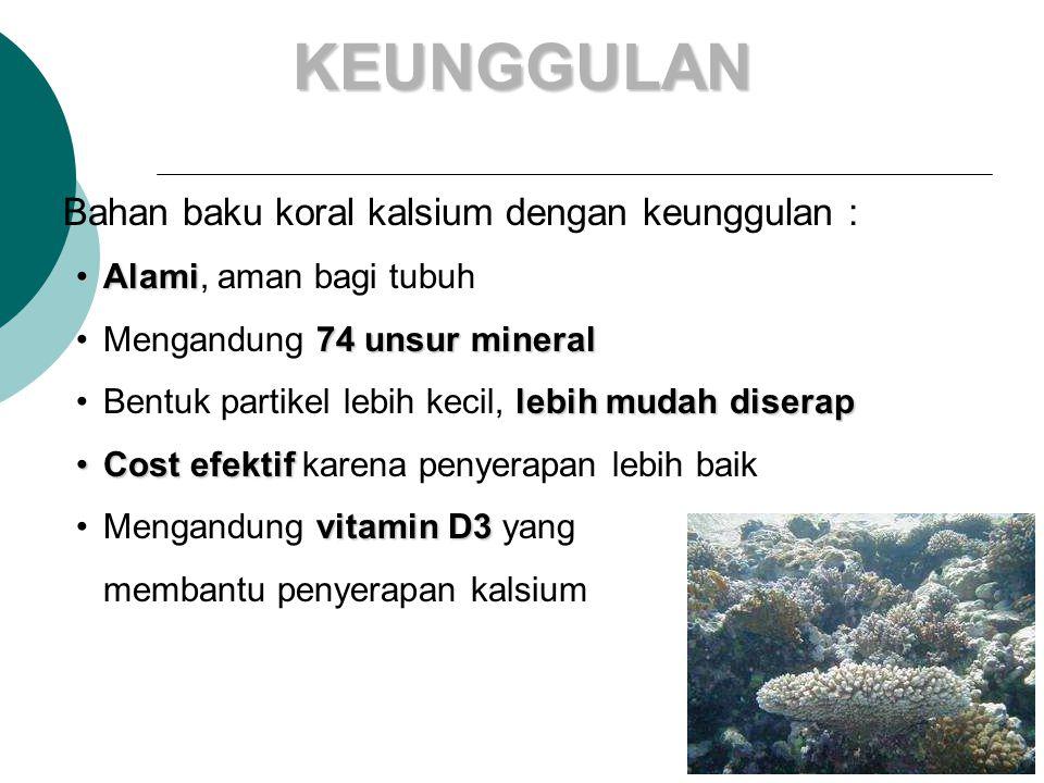KEUNGGULAN Bahan baku koral kalsium dengan keunggulan :