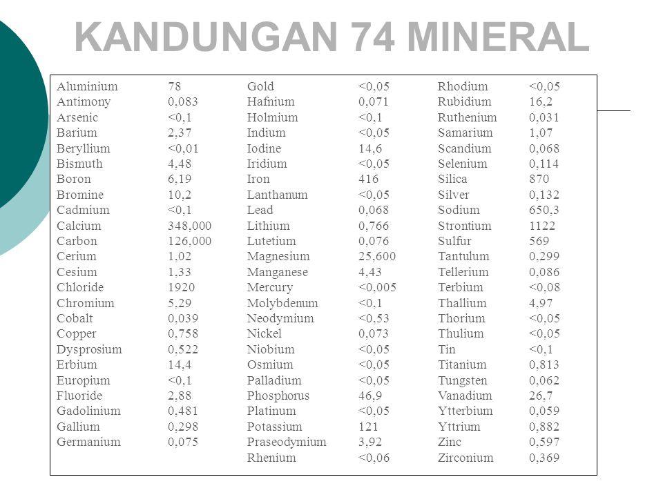 KANDUNGAN 74 MINERAL Aluminium 78 Gold <0,05 Rhodium <0,05