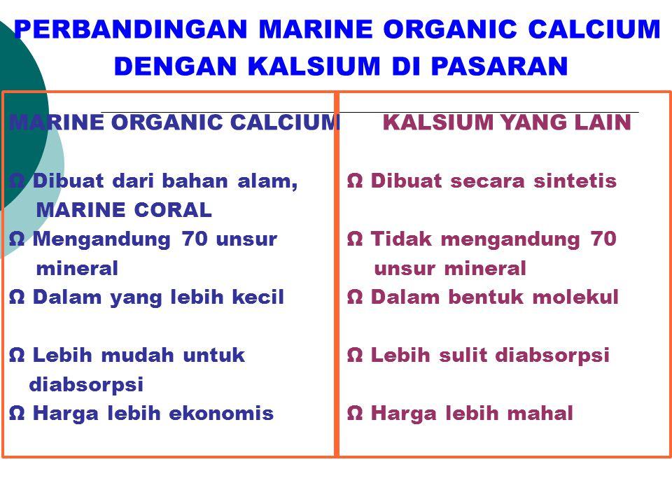PERBANDINGAN MARINE ORGANIC CALCIUM DENGAN KALSIUM DI PASARAN
