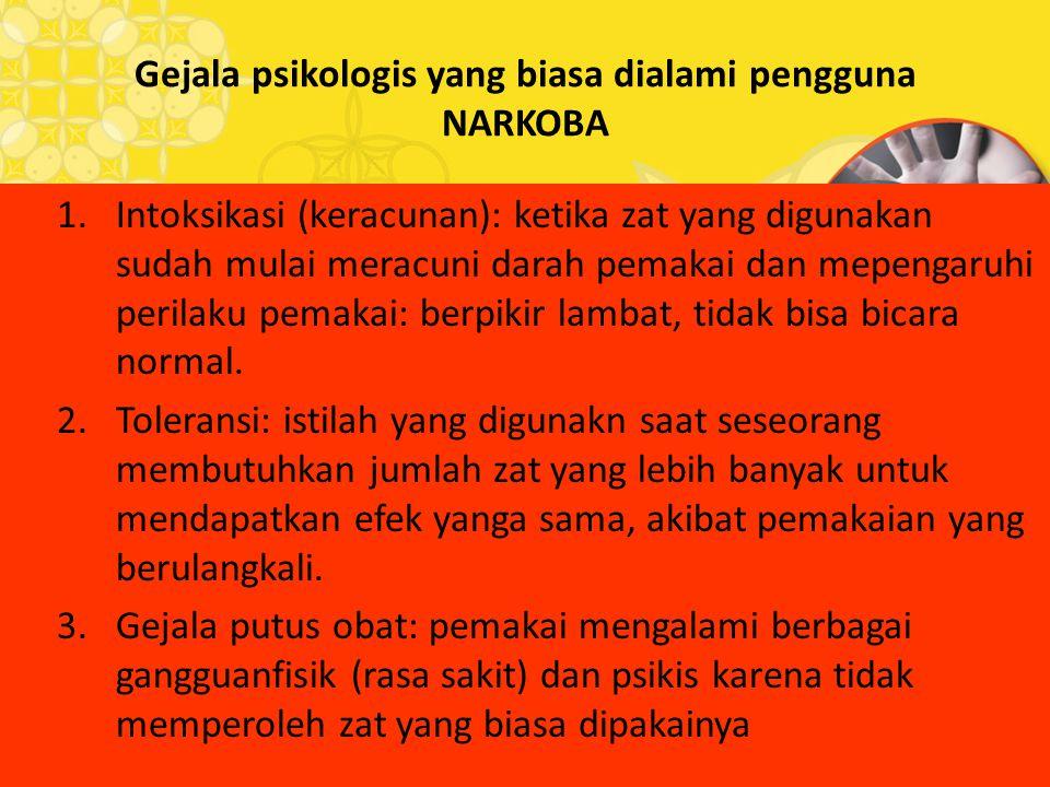 Gejala psikologis yang biasa dialami pengguna NARKOBA