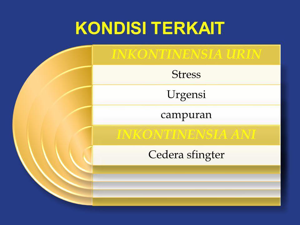 KONDISI TERKAIT INKONTINENSIA URIN INKONTINENSIA ANI Stress Urgensi
