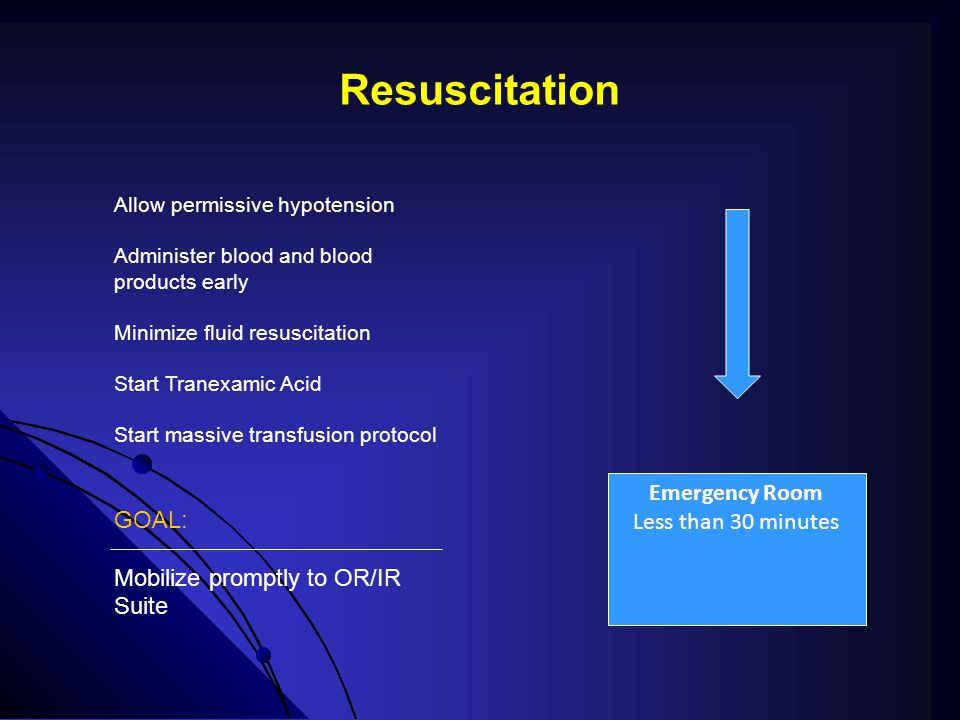 Resuscitation GOAL: Mobilize promptly to OR/IR Suite Emergency Room