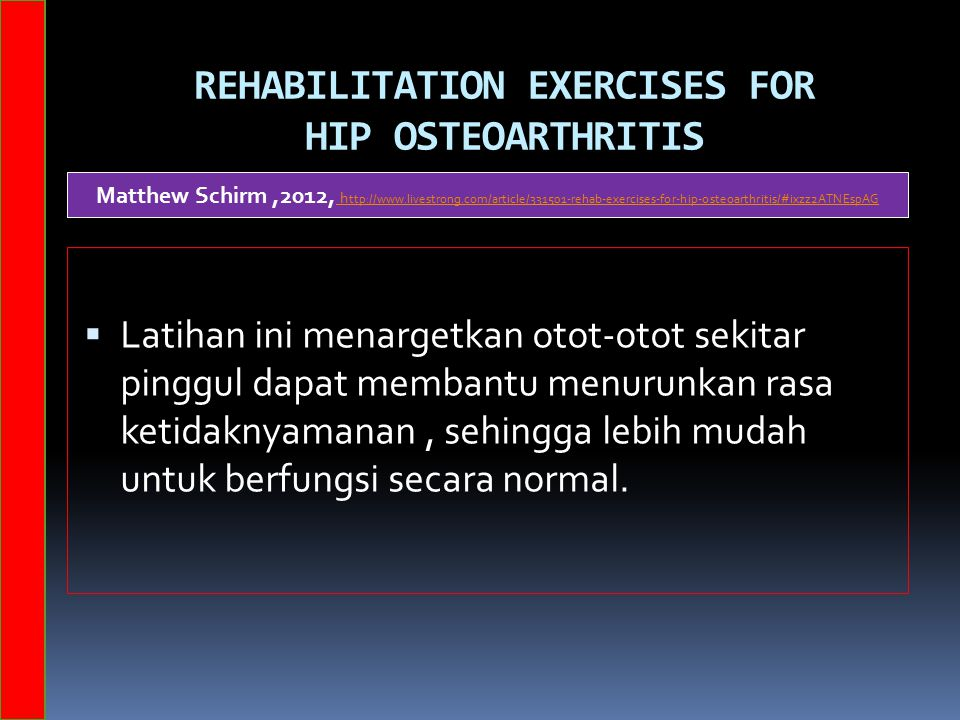 RehabILITATION Exercises for Hip Osteoarthritis