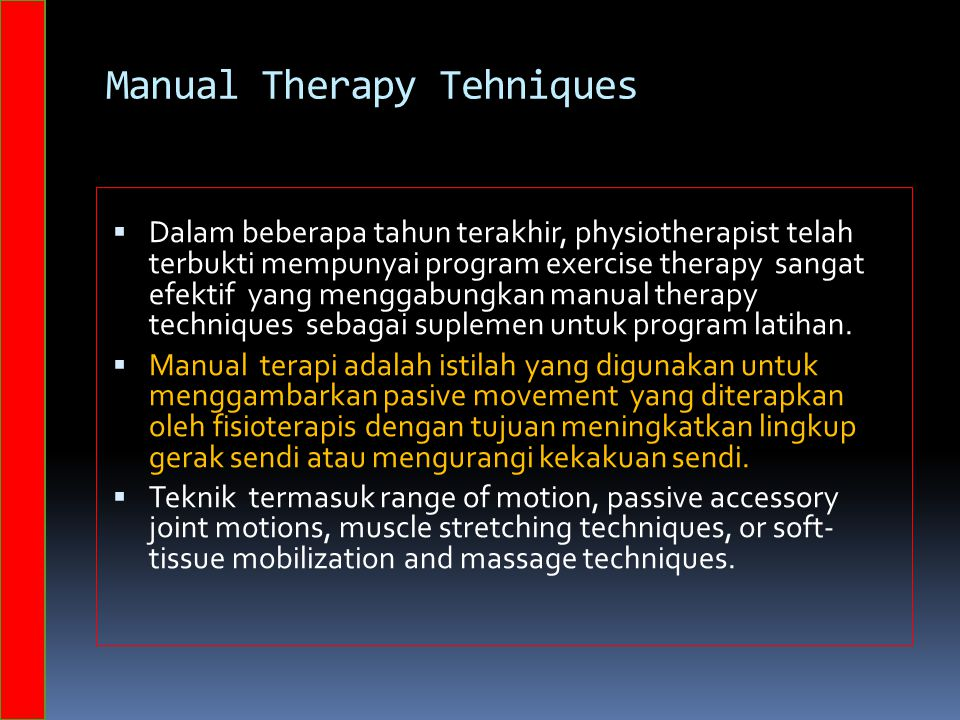 Manual Therapy Tehniques