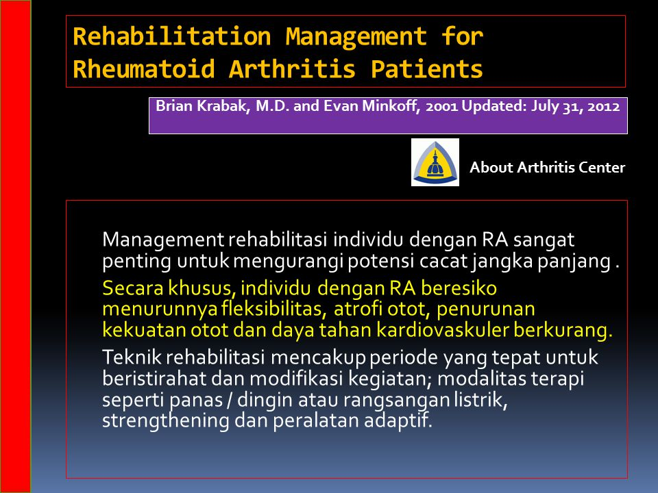 Rehabilitation Management for Rheumatoid Arthritis Patients