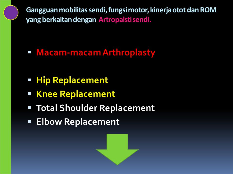 Macam-macam Arthroplasty Hip Replacement Knee Replacement