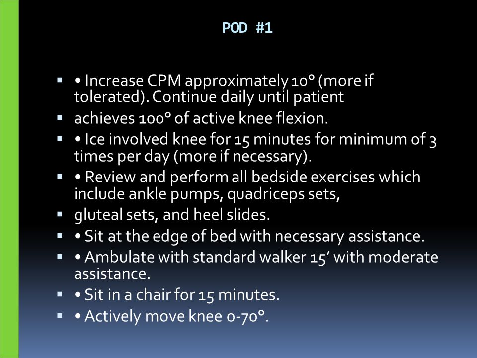 achieves 100° of active knee flexion.