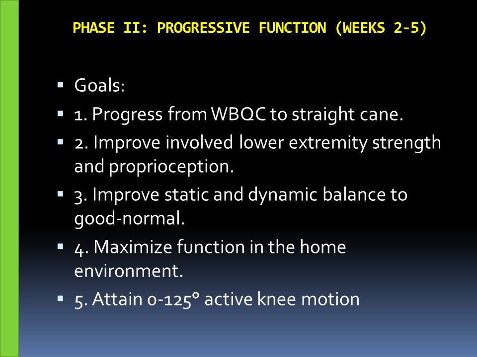 PHASE II: PROGRESSIVE FUNCTION (WEEKS 2-5)