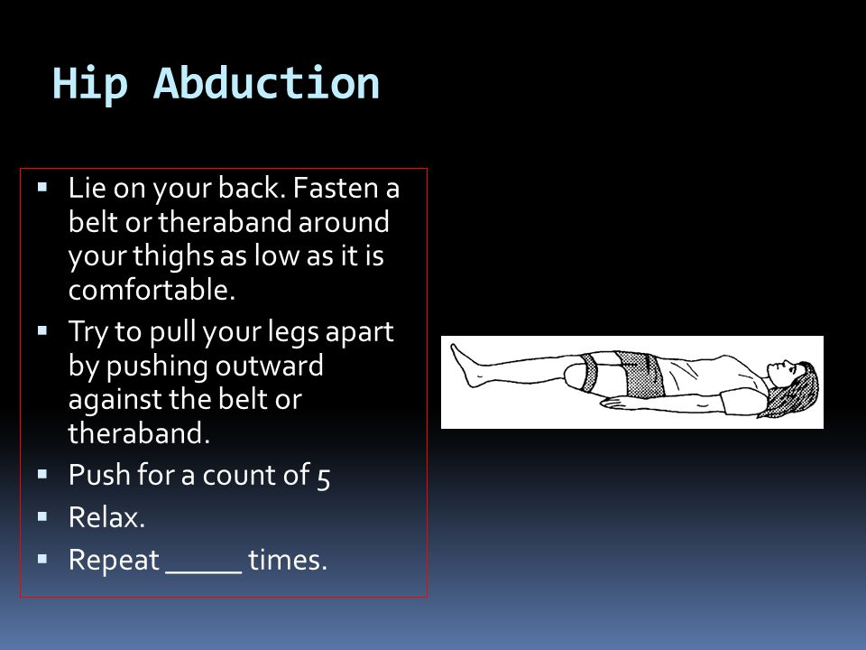 Hip Abduction Lie on your back. Fasten a belt or theraband around your thighs as low as it is comfortable.