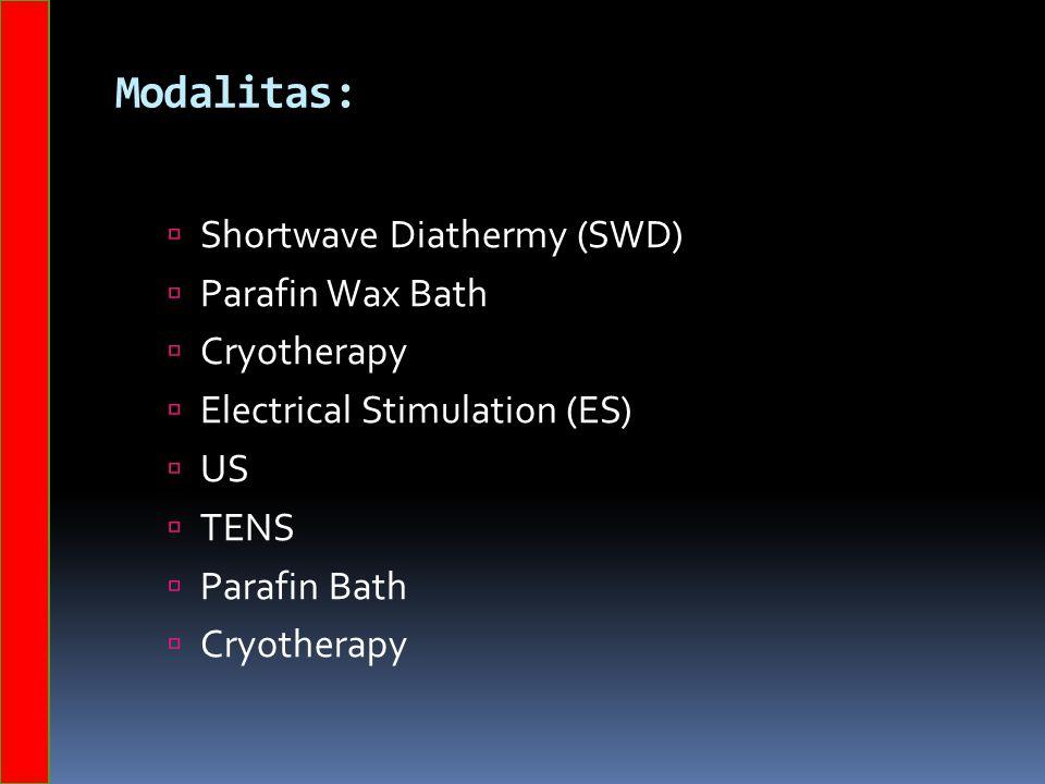 Modalitas: Shortwave Diathermy (SWD) Parafin Wax Bath Cryotherapy