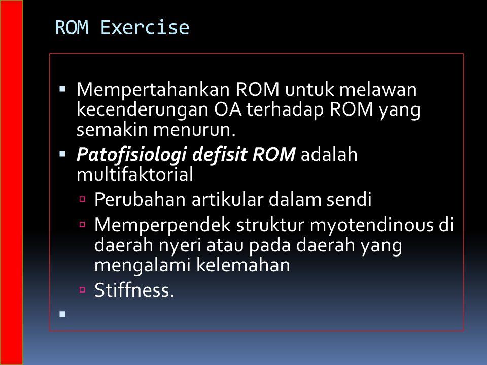 ROM Exercise Mempertahankan ROM untuk melawan kecenderungan OA terhadap ROM yang semakin menurun.