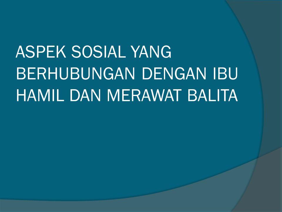 ASPEK SOSIAL YANG BERHUBUNGAN DENGAN IBU HAMIL DAN MERAWAT BALITA