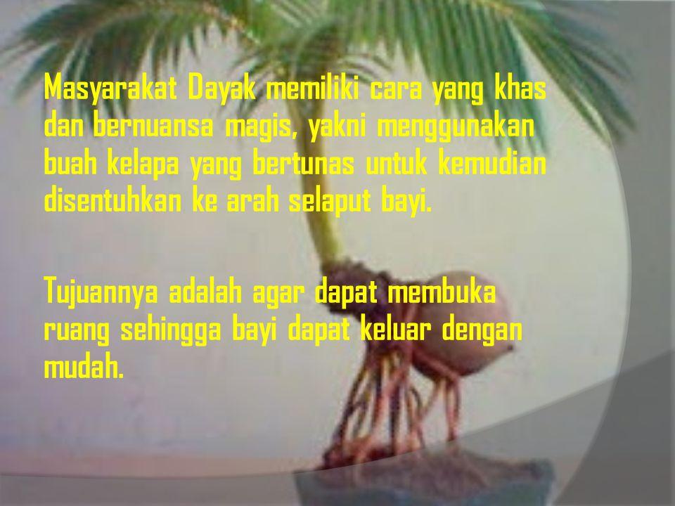 Masyarakat Dayak memiliki cara yang khas dan bernuansa magis, yakni menggunakan buah kelapa yang bertunas untuk kemudian disentuhkan ke arah selaput bayi.