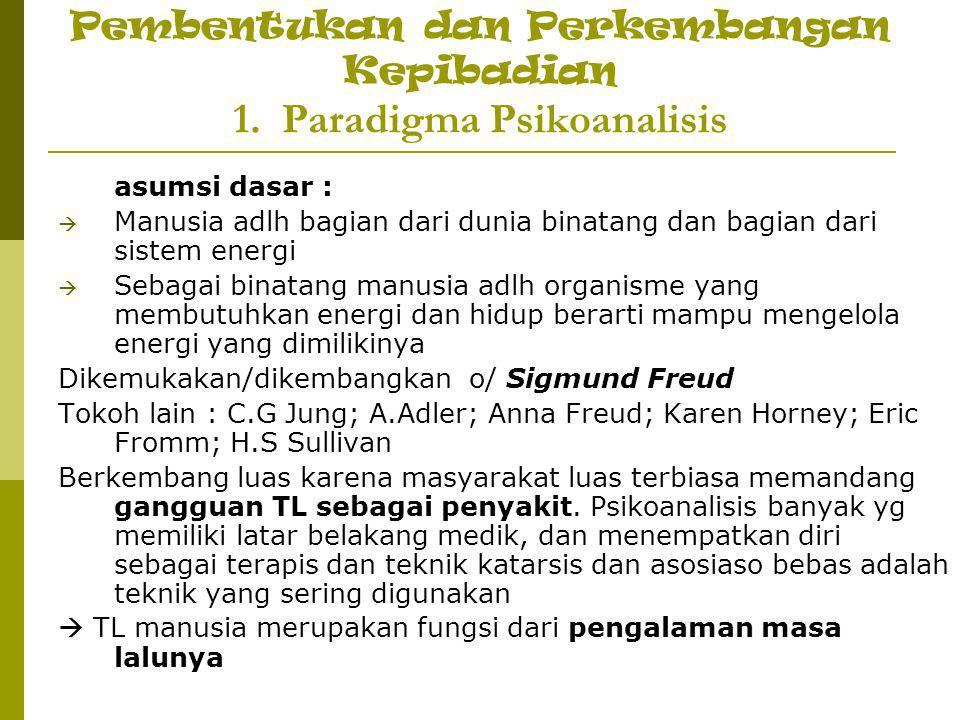 Pembentukan dan Perkembangan Kepibadian 1. Paradigma Psikoanalisis