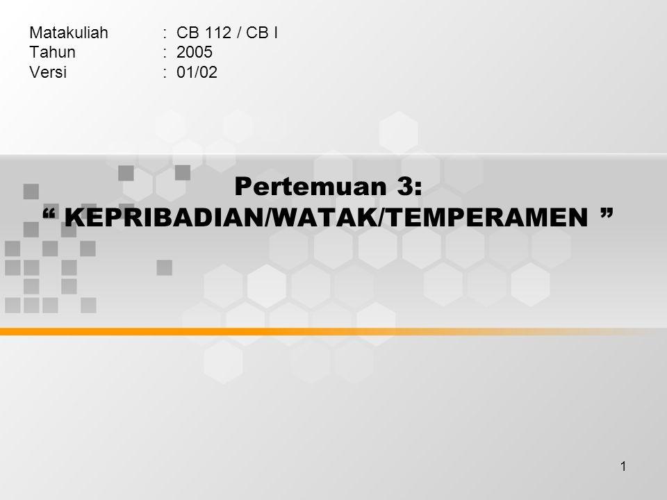 Pertemuan 3: KEPRIBADIAN/WATAK/TEMPERAMEN
