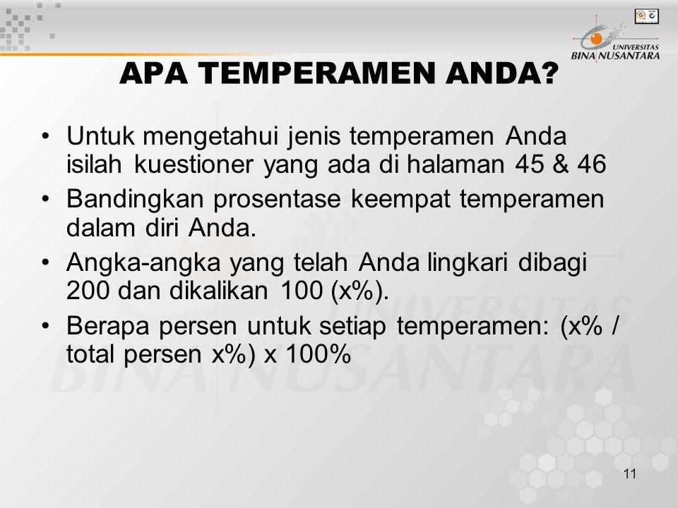 APA TEMPERAMEN ANDA Untuk mengetahui jenis temperamen Anda isilah kuestioner yang ada di halaman 45 & 46.