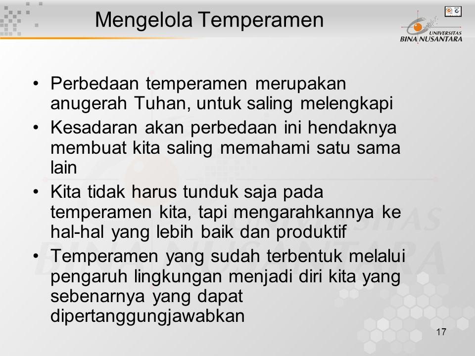 Mengelola Temperamen Perbedaan temperamen merupakan anugerah Tuhan, untuk saling melengkapi.