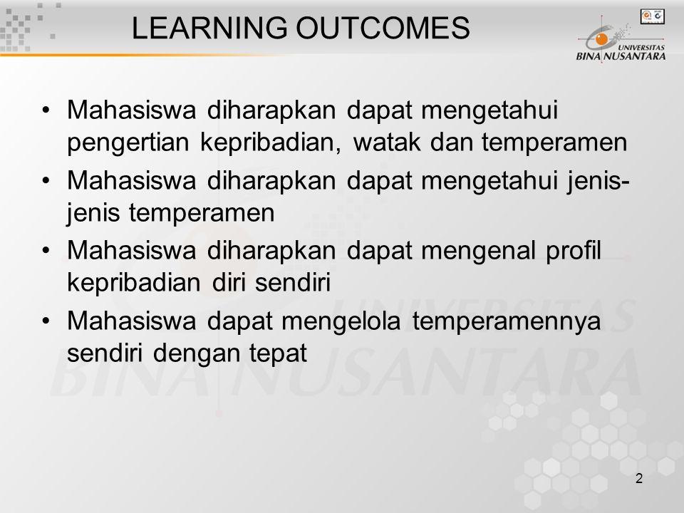 LEARNING OUTCOMES Mahasiswa diharapkan dapat mengetahui pengertian kepribadian, watak dan temperamen.