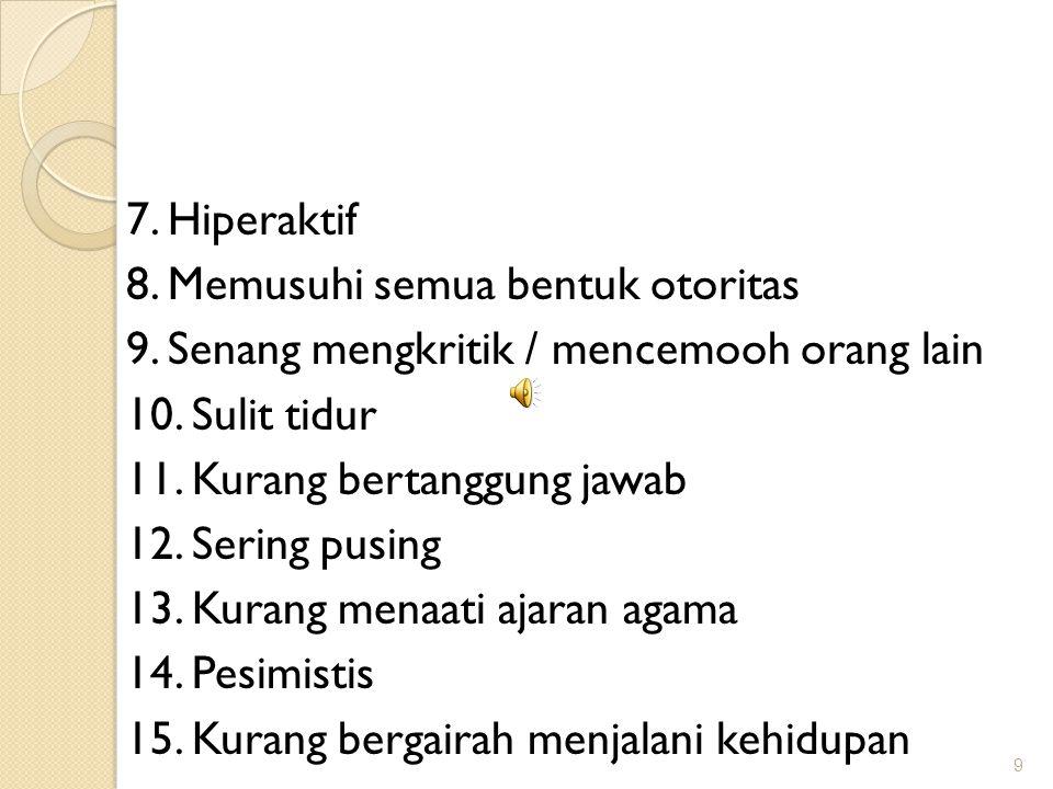 7. Hiperaktif 8. Memusuhi semua bentuk otoritas 9