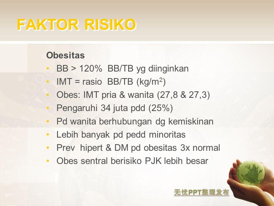 FAKTOR RISIKO Obesitas BB > 120% BB/TB yg diinginkan