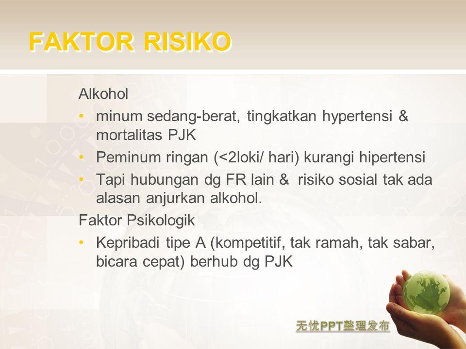FAKTOR RISIKO Alkohol. minum sedang-berat, tingkatkan hypertensi & mortalitas PJK. Peminum ringan (<2loki/ hari) kurangi hipertensi.