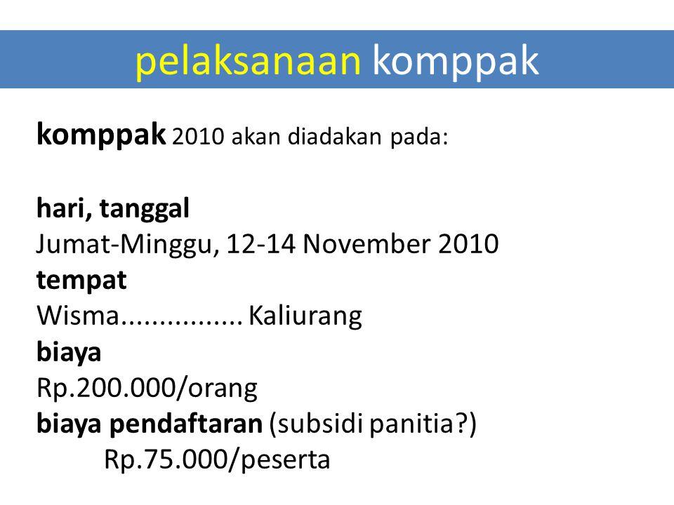pelaksanaan komppak komppak 2010 akan diadakan pada: hari, tanggal