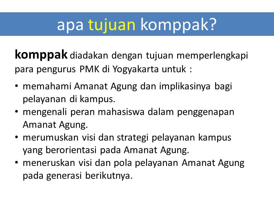 apa tujuan komppak komppak diadakan dengan tujuan memperlengkapi para pengurus PMK di Yogyakarta untuk :