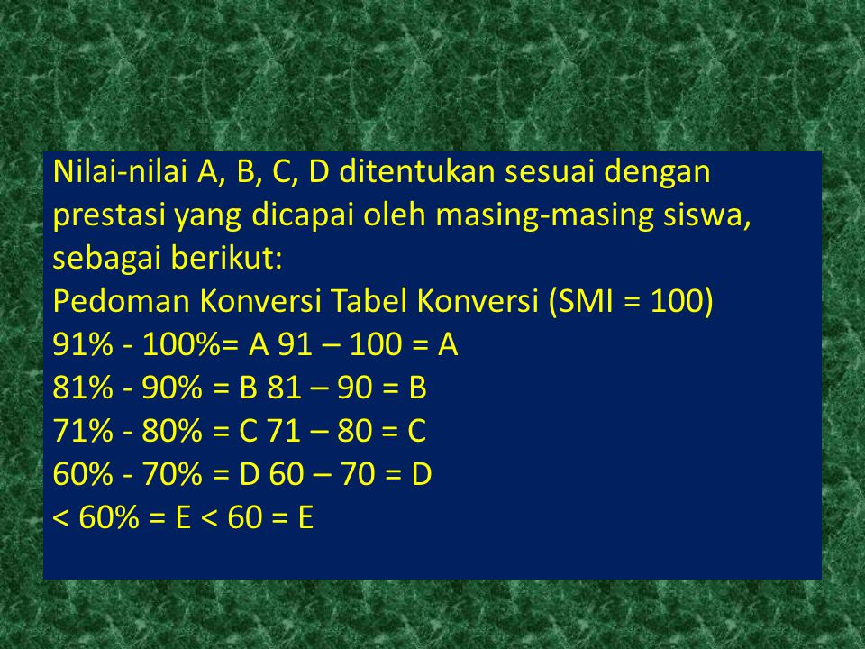 Nilai-nilai A, B, C, D ditentukan sesuai dengan prestasi yang dicapai oleh masing-masing siswa, sebagai berikut: Pedoman Konversi Tabel Konversi (SMI = 100) 91% - 100%= A 91 – 100 = A 81% - 90% = B 81 – 90 = B 71% - 80% = C 71 – 80 = C 60% - 70% = D 60 – 70 = D < 60% = E < 60 = E