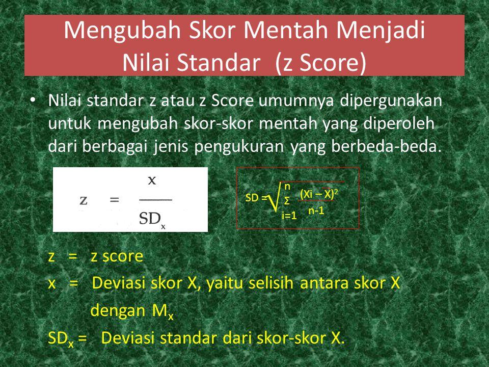 Mengubah Skor Mentah Menjadi Nilai Standar (z Score)