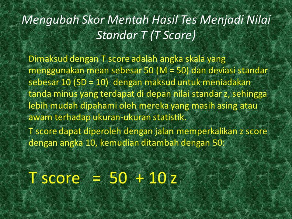 Mengubah Skor Mentah Hasil Tes Menjadi Nilai Standar T (T Score)