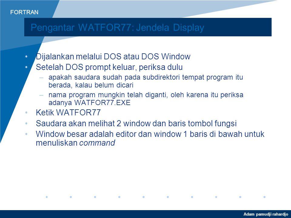 Pengantar WATFOR77: Jendela Display