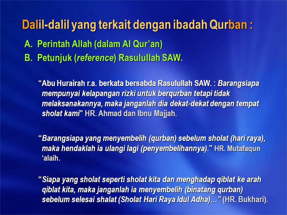 Dalil-dalil yang terkait dengan ibadah Qurban :