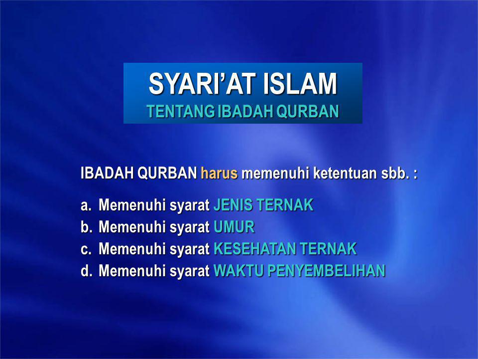 SYARI'AT ISLAM TENTANG IBADAH QURBAN