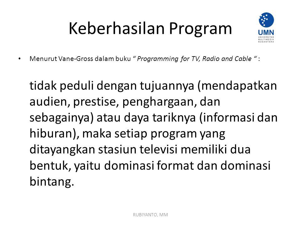 Keberhasilan Program Menurut Vane-Gross dalam buku Programming for TV, Radio and Cable :