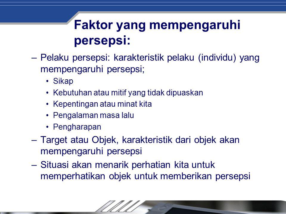 Faktor yang mempengaruhi persepsi: