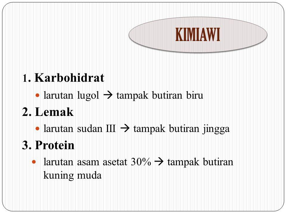KIMIAWI 1. Karbohidrat 2. Lemak 3. Protein