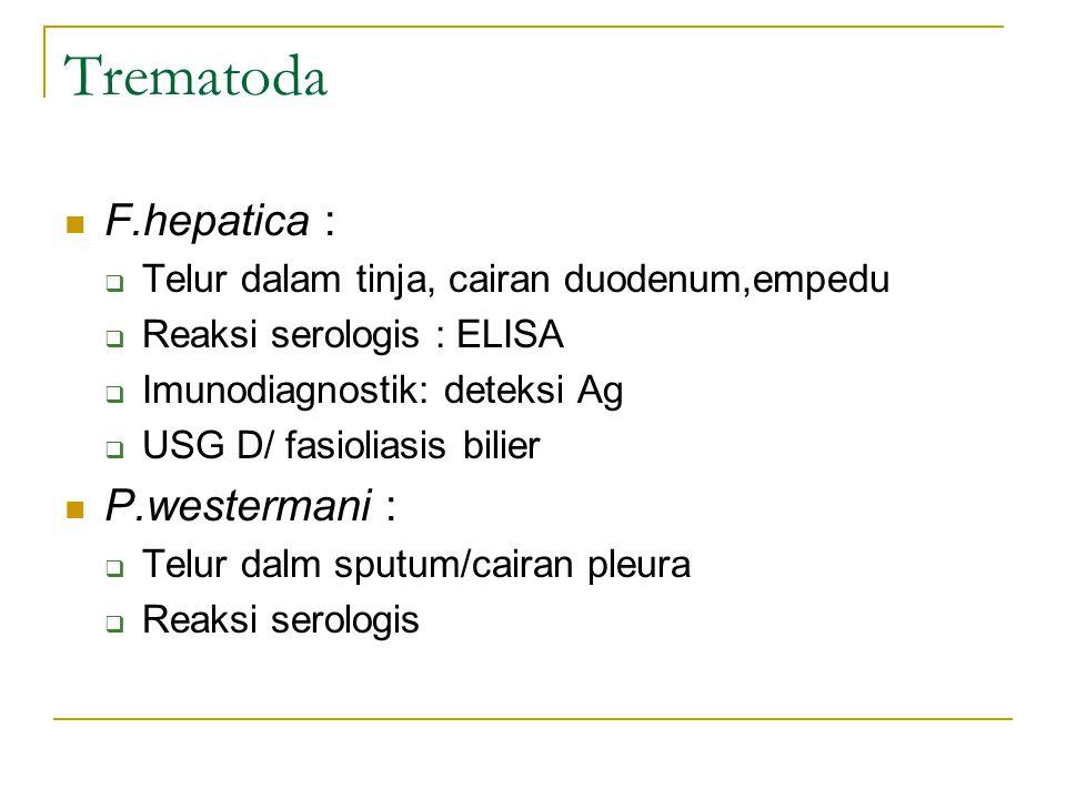 Trematoda F.hepatica : P.westermani :
