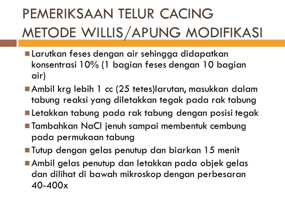 PEMERIKSAAN TELUR CACING METODE WILLIS/APUNG MODIFIKASI