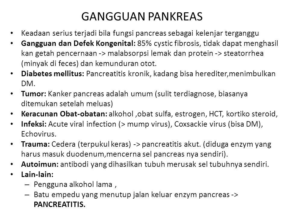 GANGGUAN PANKREAS Keadaan serius terjadi bila fungsi pancreas sebagai kelenjar terganggu.