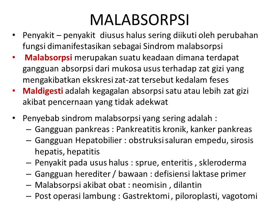 MALABSORPSI Penyakit – penyakit diusus halus sering diikuti oleh perubahan fungsi dimanifestasikan sebagai Sindrom malabsorpsi.