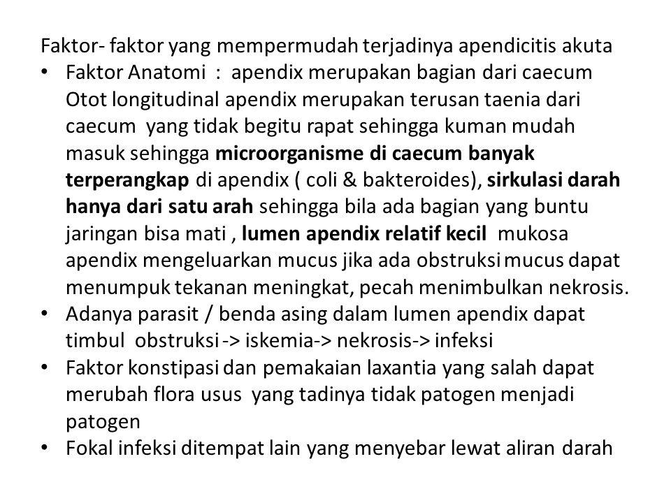 Faktor- faktor yang mempermudah terjadinya apendicitis akuta