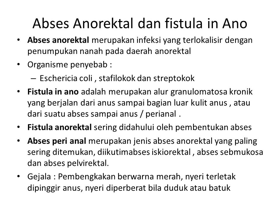 Abses Anorektal dan fistula in Ano