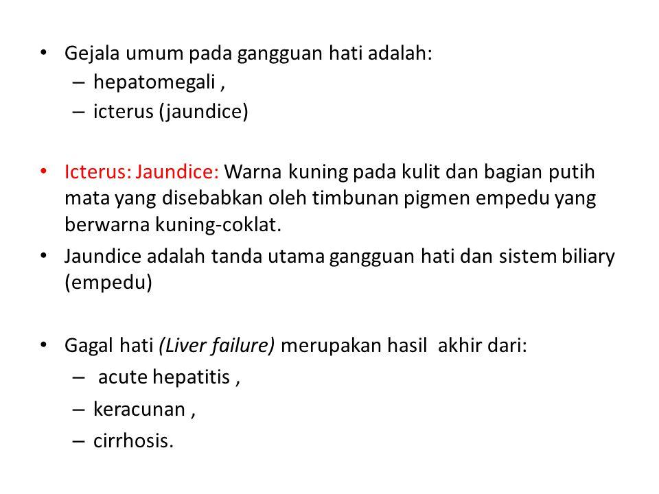 Gejala umum pada gangguan hati adalah: