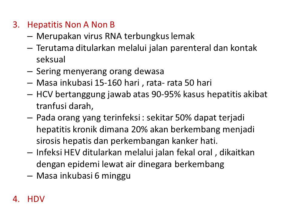 Hepatitis Non A Non B Merupakan virus RNA terbungkus lemak. Terutama ditularkan melalui jalan parenteral dan kontak seksual.