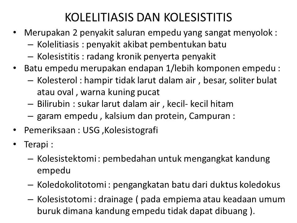 KOLELITIASIS DAN KOLESISTITIS