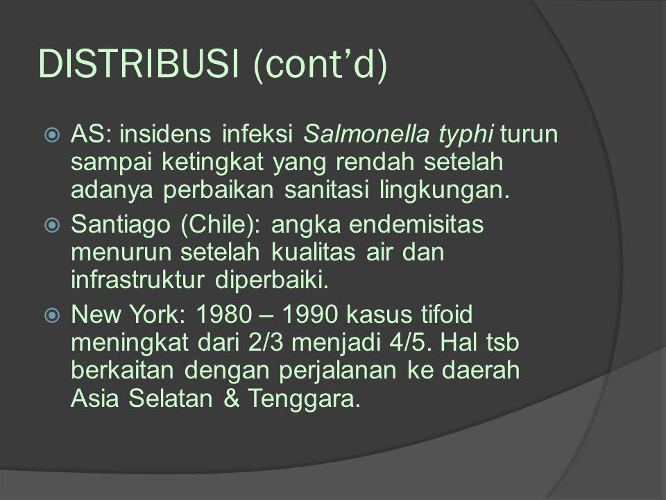 DISTRIBUSI (cont'd) AS: insidens infeksi Salmonella typhi turun sampai ketingkat yang rendah setelah adanya perbaikan sanitasi lingkungan.