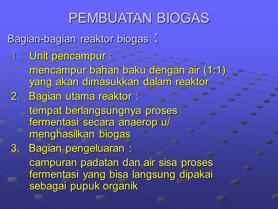 Bagian-bagian reaktor biogas :