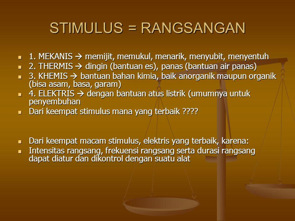 STIMULUS = RANGSANGAN 1. MEKANIS  memijit, memukul, menarik, menyubit, menyentuh. 2. THERMIS  dingin (bantuan es), panas (bantuan air panas)