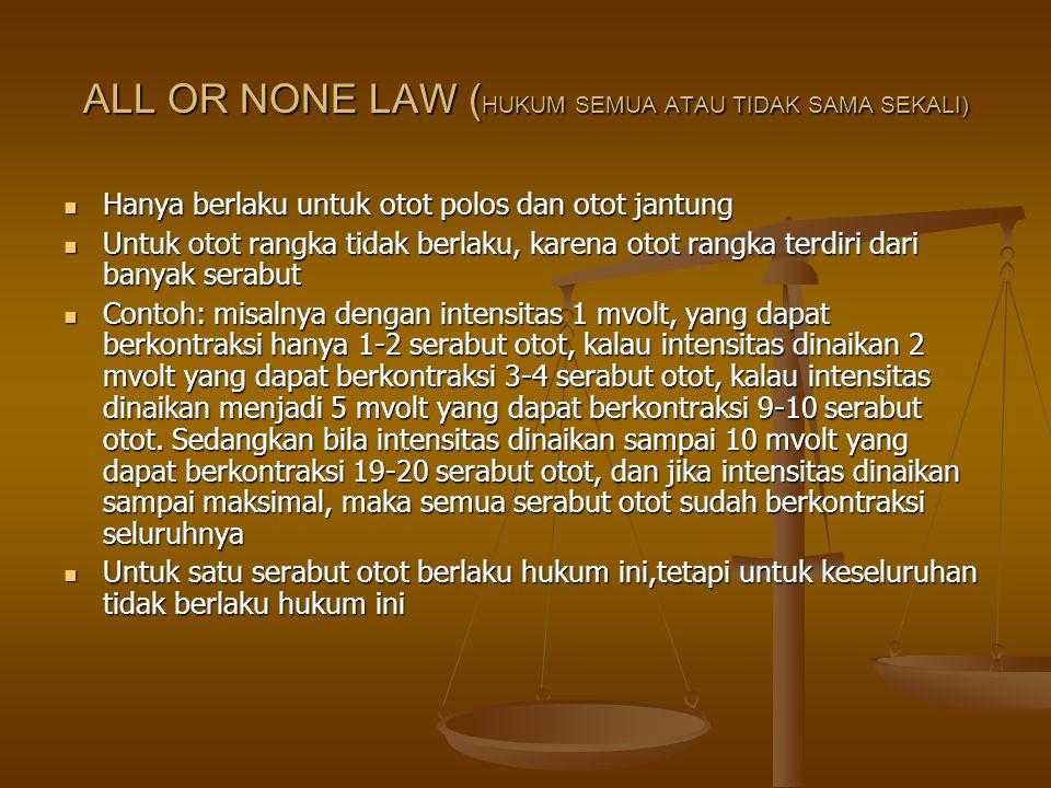 ALL OR NONE LAW (HUKUM SEMUA ATAU TIDAK SAMA SEKALI)
