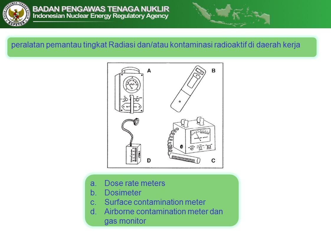 peralatan pemantau tingkat Radiasi dan/atau kontaminasi radioaktif di daerah kerja